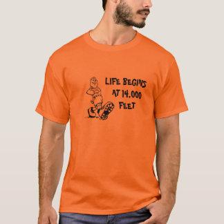 LIFE BEGINS AT 14,000 FEET, Cartoon Hiker T-Shirt