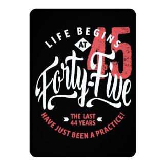 Life Begins at 45 | 45th Birthday Card