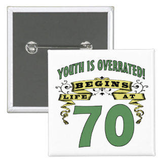 Life Begins At 70th Birthday 2 Inch Square Button