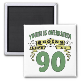 Life Begins At 90th Birthday 2 Inch Square Magnet