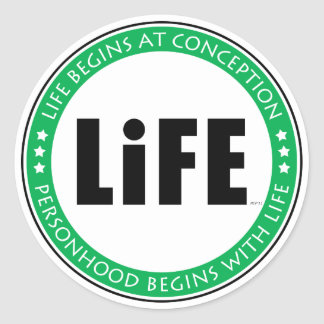 Life Begins At Conception Classic Round Sticker