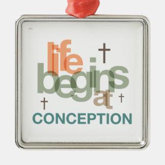 Life Begins At Conception Metal Ornament