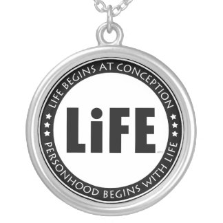 Life Begins At Conception Round Pendant Necklace