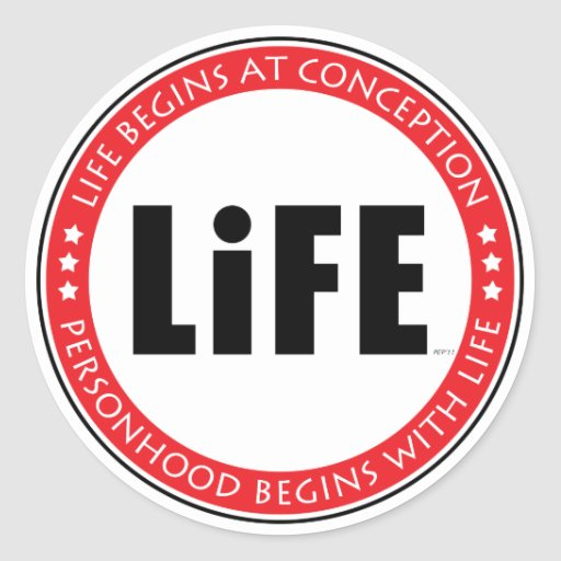 Life Begins At Conception Round Stickers