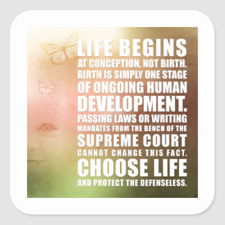 Life Begins At Conception Square Sticker