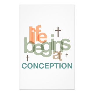 Life Begins At Conception Customized Stationery