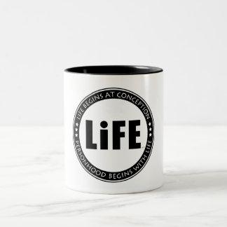 Life Begins At Conception Two-Tone Coffee Mug