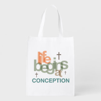 Life Begins At Conception Reusable Grocery Bag