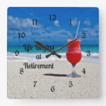 Life Begins At Retirement, Frosty Drink On Beach Square Wall Clock at Zazzle