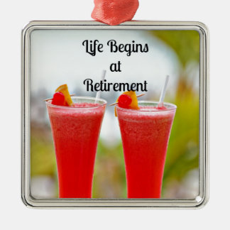 Life Begins at Retirement - Frosty Tropical Drinks Square Metal Christmas Ornament
