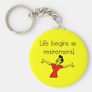 Life Begins at Retirement! Fun Gifts Basic Round Button Keychain