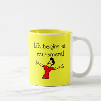 Life Begins at Retirement! Fun Gifts Two-Tone Coffee Mug