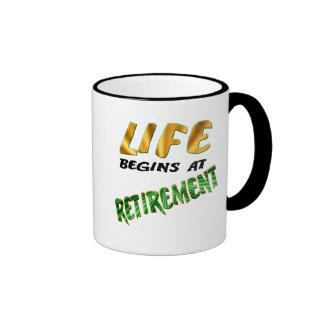 Life Begins At Retirement Gifts and T-shirts Ringer Mug