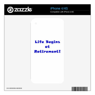Life Begins at Retirement iPhone 4S Decal