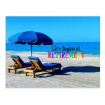 Life Begins At Retirement, Relaxing At The Beach Postcard at Zazzle