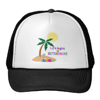 Life Begins at Retirement, Tropical Beach Trucker Hat