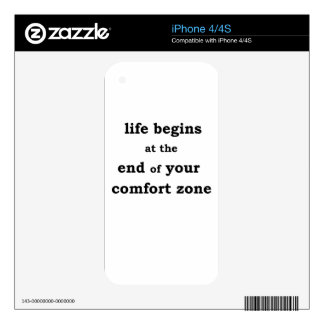 life begins at the end of your comfort zone iPhone 4S decal