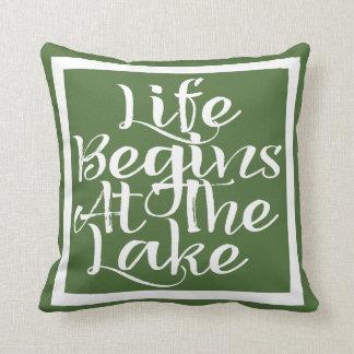 Life Begins At The Lake Throw Pillow