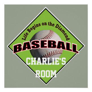 Life Begins Baseball Star My Room Poster