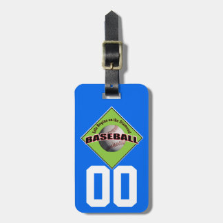 Life Begins Baseball with Number Luggage Tag