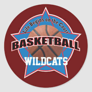 Life Begins Basketball Court and Text Classic Round Sticker