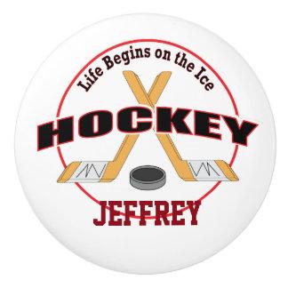 Life Begins Crossed Hockey Sticks with Name Ceramic Knob