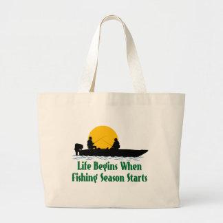 Life Begins Fishing Season Canvas Bag