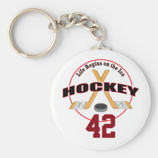 Life Begins Hockey and Number Keychain