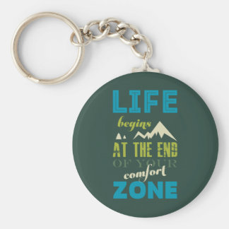 Life begins Inspirational Quote Typography Print Keychain