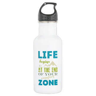 Life begins Inspirational Quote Typography Print Water Bottle