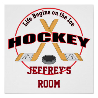 Life Begins on the Ice Hockey Your Name Poster