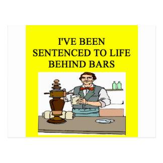 life behind bars drinking beer joke postcard
