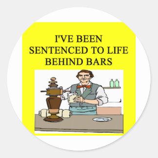 life behind bars drinking beer joke round stickers