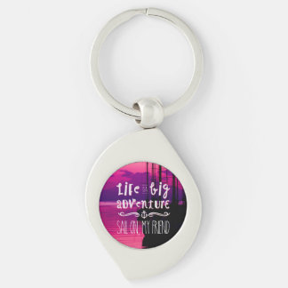 Life Big Adventure Sail Friend Yachts Pink Sunset Silver-Colored Swirl Metal Keychain