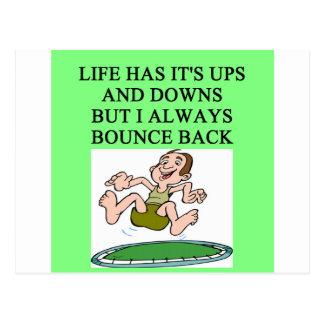 life bouncing trampoline joke postcard