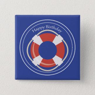 Life Buoy Nautical Happy Birthday Square Button