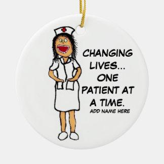 Life Changing Nurse Cartoon Ceramic Ornament