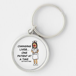 Life Changing Nurse Cartoon Silver-Colored Round Keychain