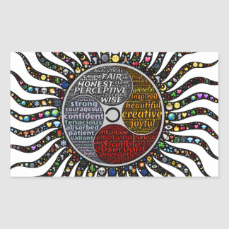 Life circle rectangular sticker