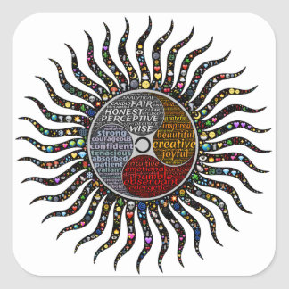 Life circle square sticker