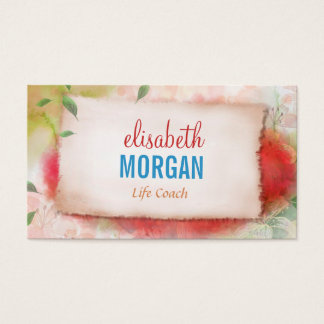 Life Coach  - Artistry Watercolor Floral Business Card