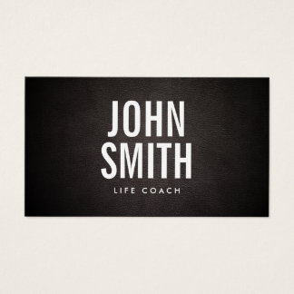 Life Coach Bold Text Elegant Leather Business Card