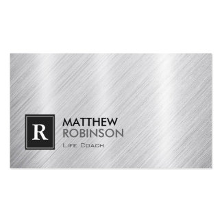 Life Coach  - Brushed Metal Monogram Business Cards