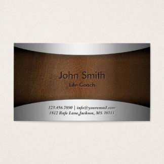 Life Coach Classy Leather Metallic Business Card