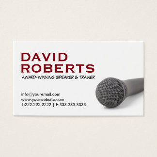 Life Coach Public Speaker Bold Text & Microphone Business Card