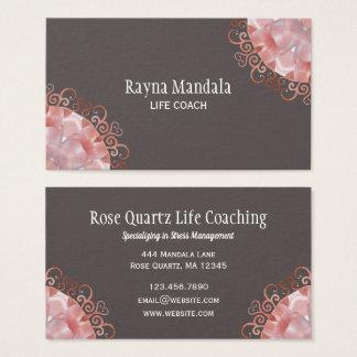 Life Coach   Rose Quartz 2 Mandala Business Card