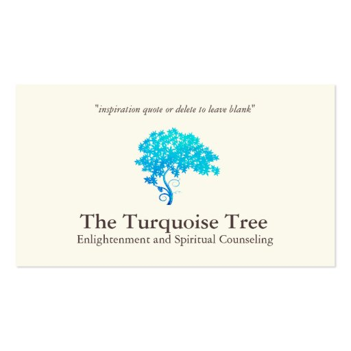 Life Coach Spiritual Counselor Turquoise Tree Business Card Templates