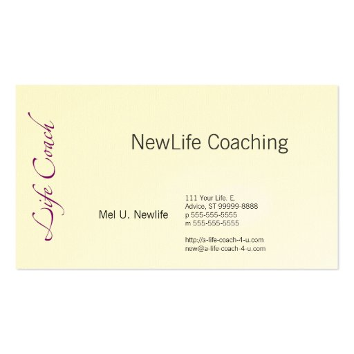 Life coach text swash double sided standard business cards for Life coaching business cards