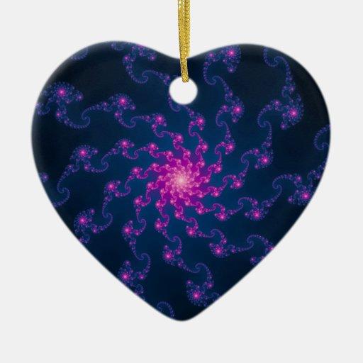 Life Flower Fractal Art Double-Sided Heart Ceramic Christmas Ornament
