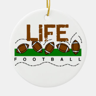 Life Football T-shirts and Gifts Double-Sided Ceramic Round Christmas Ornament